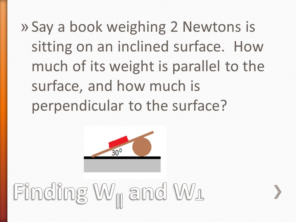 Say a book weighing 2 Newtons is sitting on an inclined surface