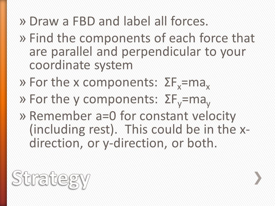 Strategy Draw a FBD and label all forces.