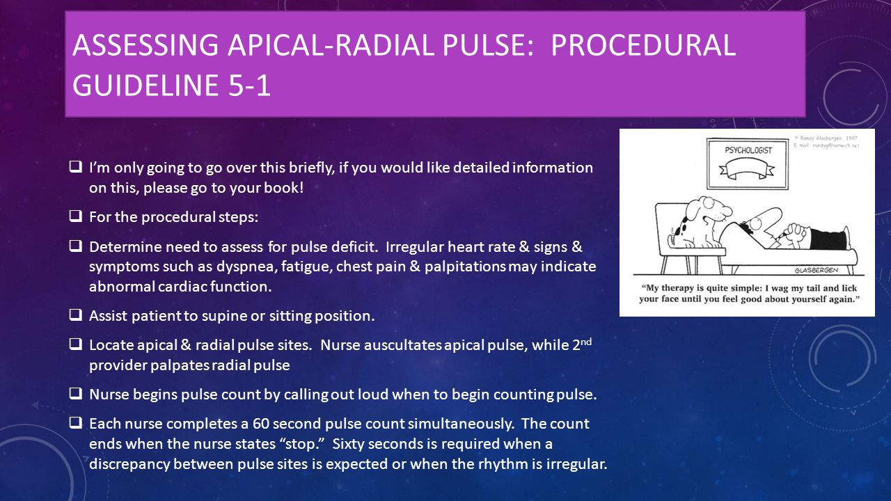 ASSESSING APICAL-RADIAL PULSE: PROCEDURAL GUIDELINE 5-1