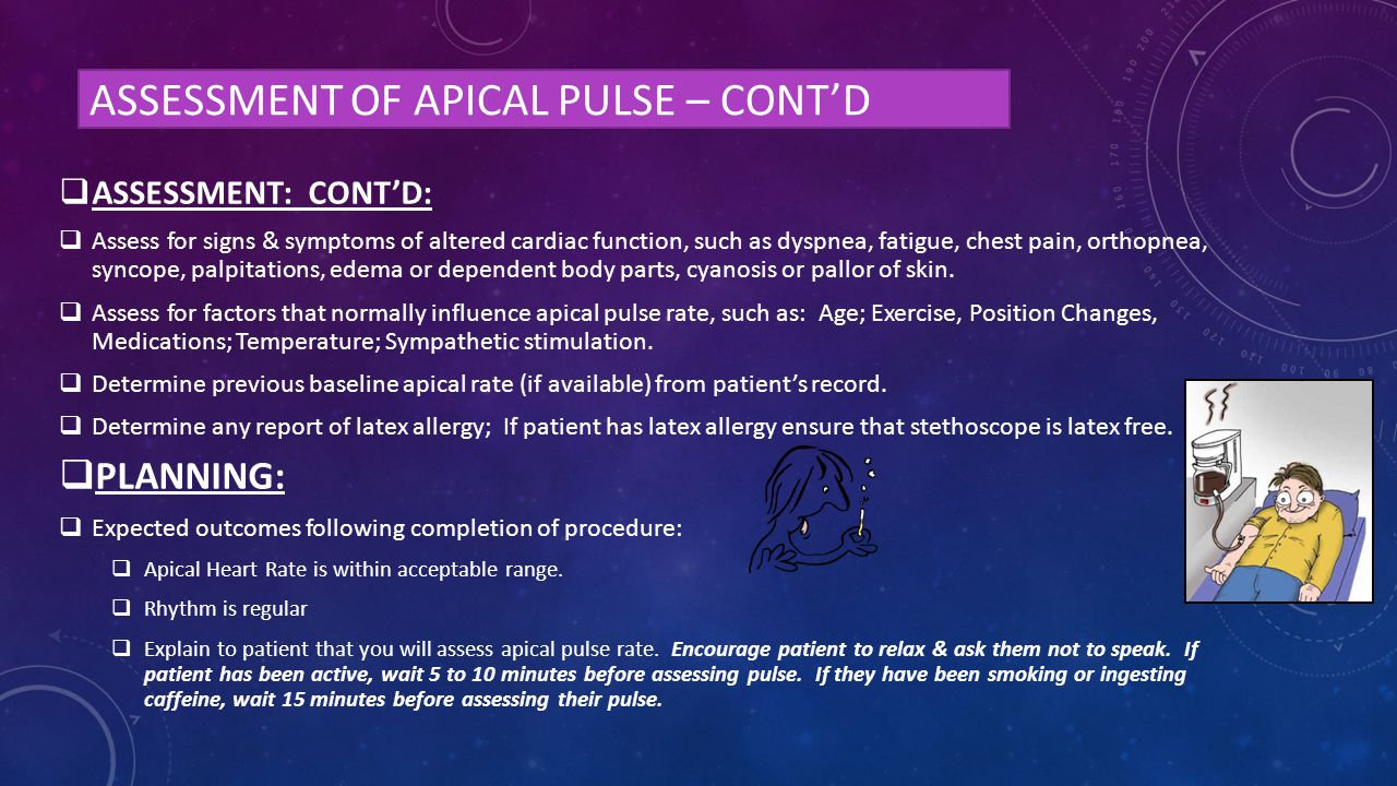 Assessment of apical pulse – cont'd