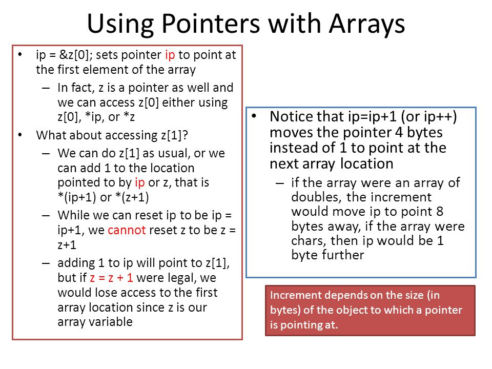 Using Pointers with Arrays