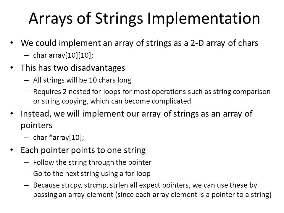 Arrays of Strings Implementation