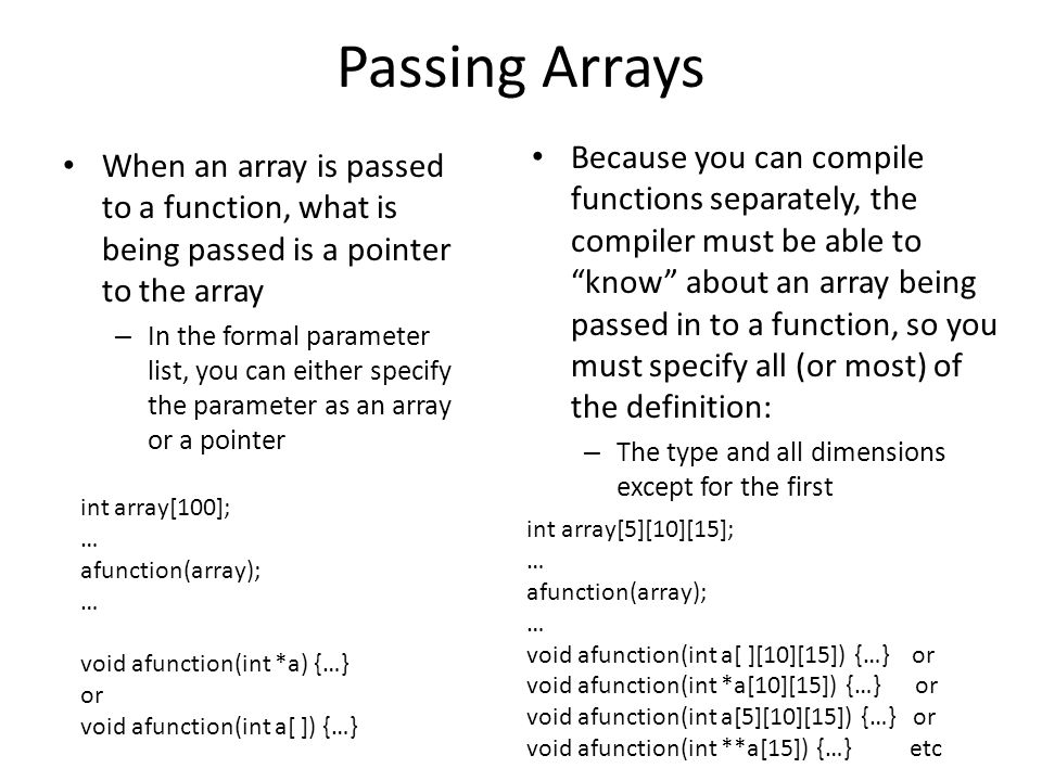 Passing Arrays