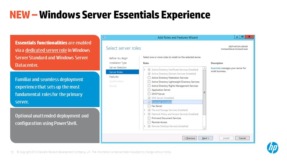 NEW – Windows Server Essentials Experience