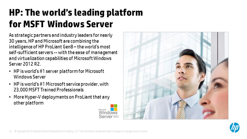 HP: The world's leading platform for MSFT Windows Server