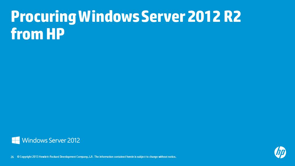 Procuring Windows Server 2012 R2 from HP
