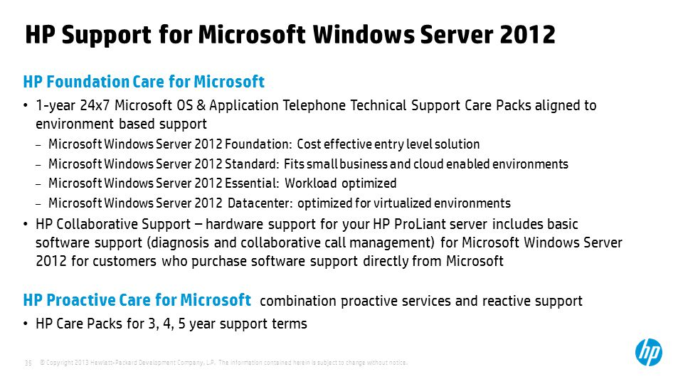 HP Support for Microsoft Windows Server 2012