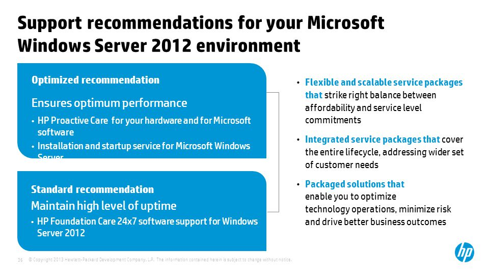 Support recommendations for your Microsoft Windows Server 2012 environment