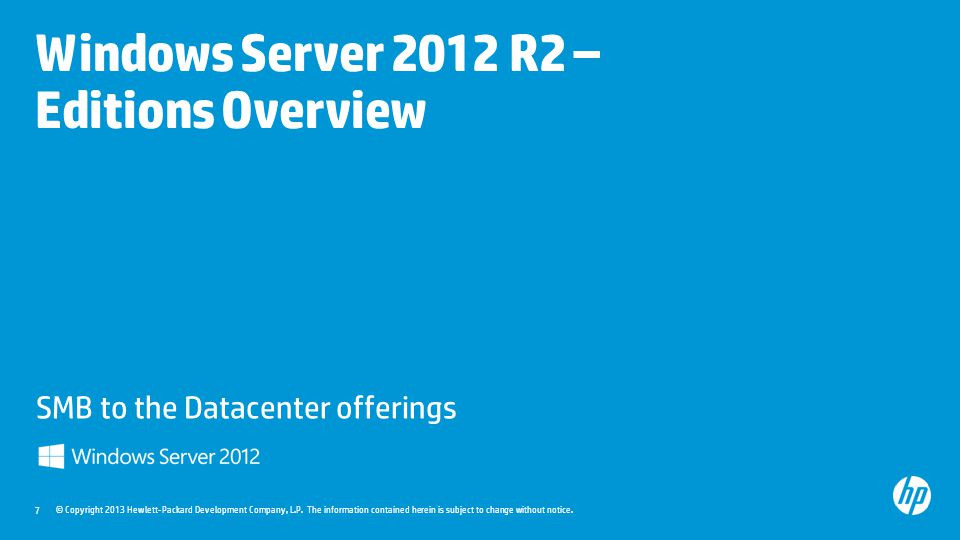 Windows Server 2012 R2 – Editions Overview