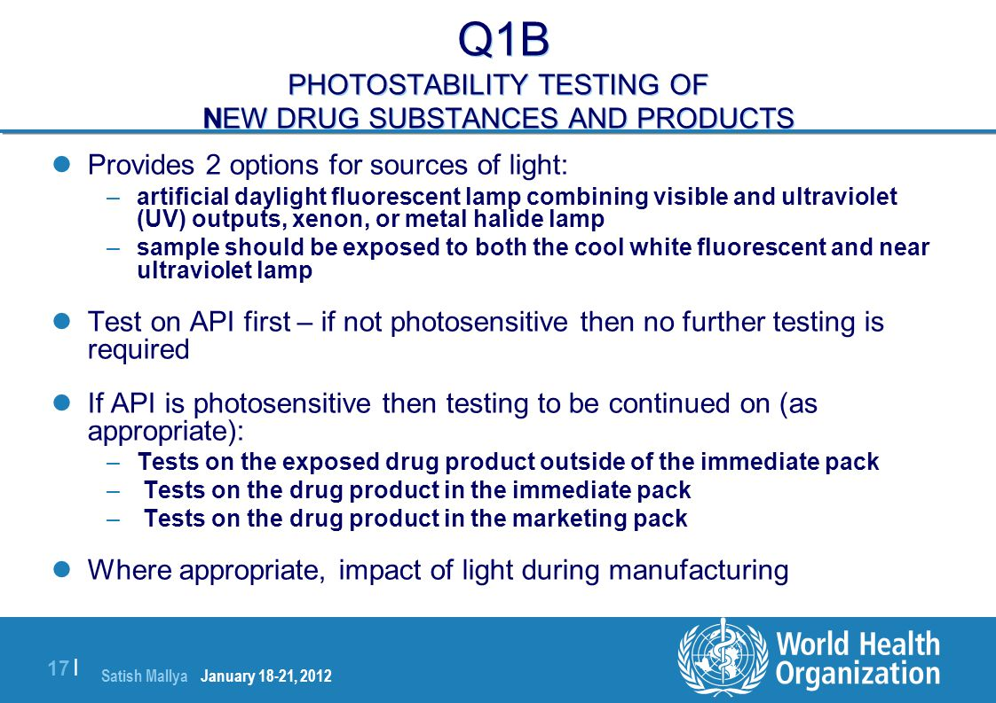 Q1B PHOTOSTABILITY TESTING OF NEW DRUG SUBSTANCES AND PRODUCTS