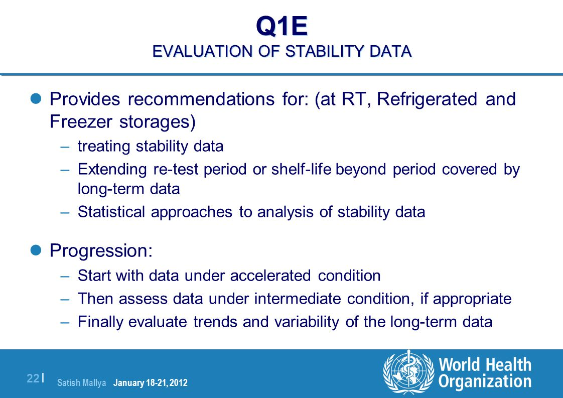 Q1E EVALUATION OF STABILITY DATA