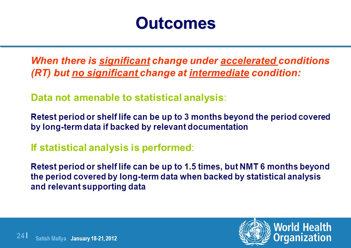 Outcomes Data not amenable to statistical analysis: