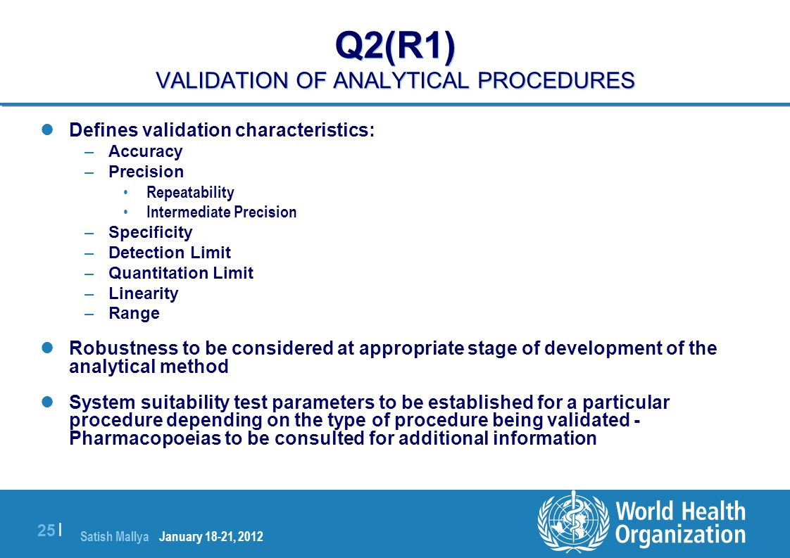 Q2(R1) VALIDATION OF ANALYTICAL PROCEDURES