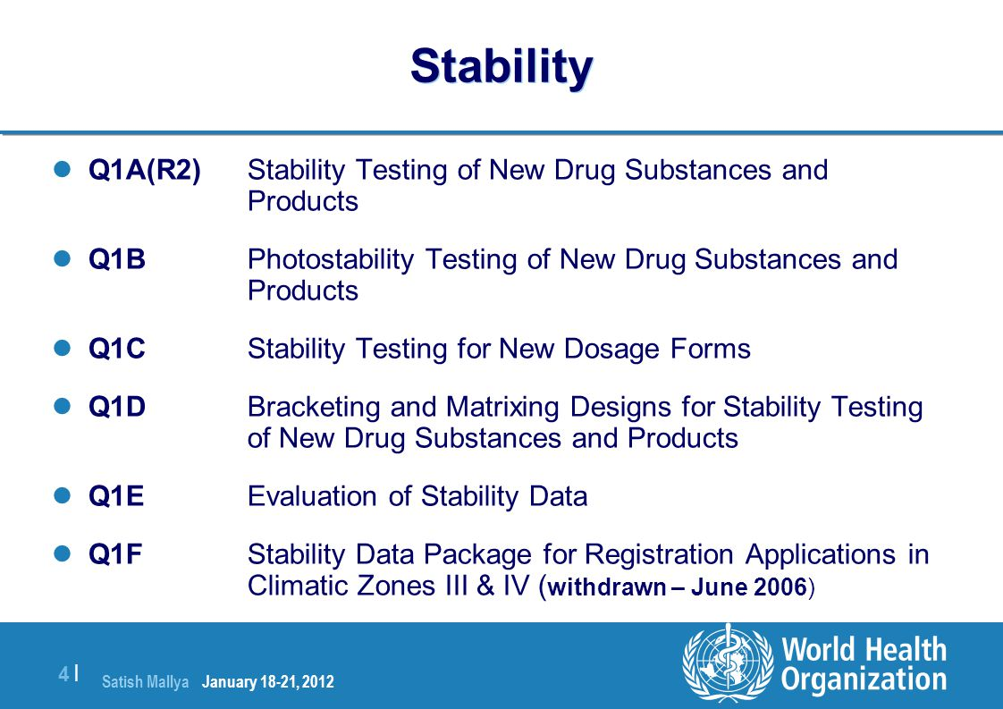 Stability Q1A(R2) Stability Testing of New Drug Substances and Products. Q1B Photostability Testing of New Drug Substances and Products.