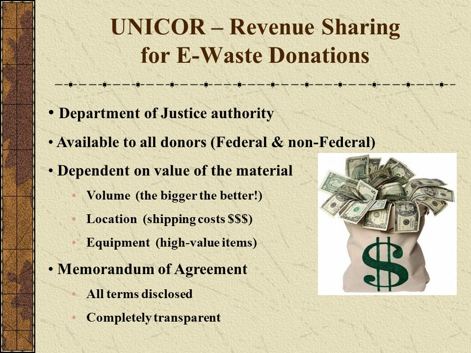 UNICOR – Revenue Sharing for E-Waste Donations