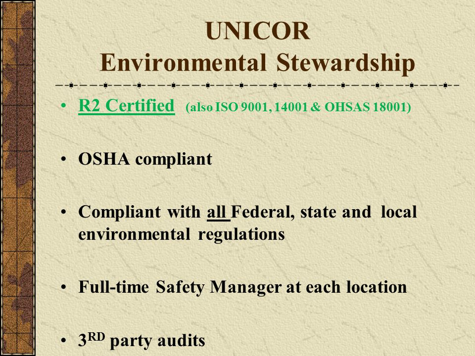 UNICOR Environmental Stewardship