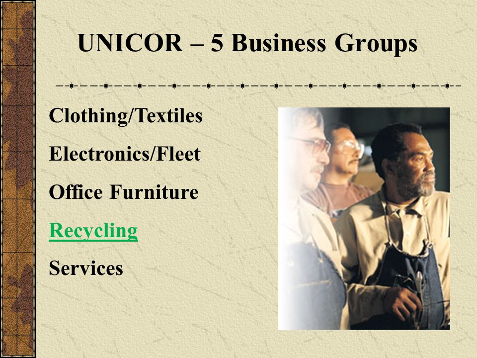 UNICOR – 5 Business Groups