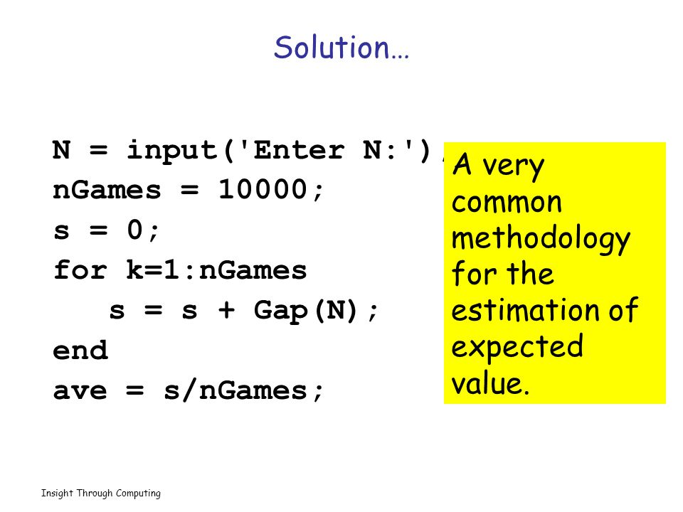 A very common methodology for the estimation of expected value.