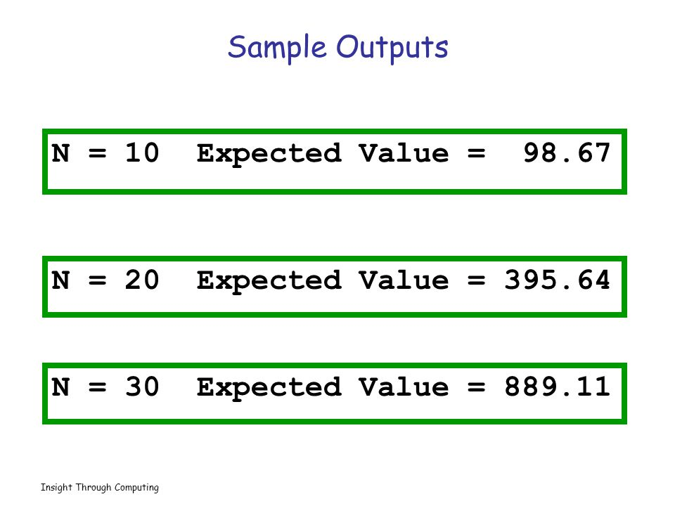 Sample Outputs N = 10 Expected Value = 98.67