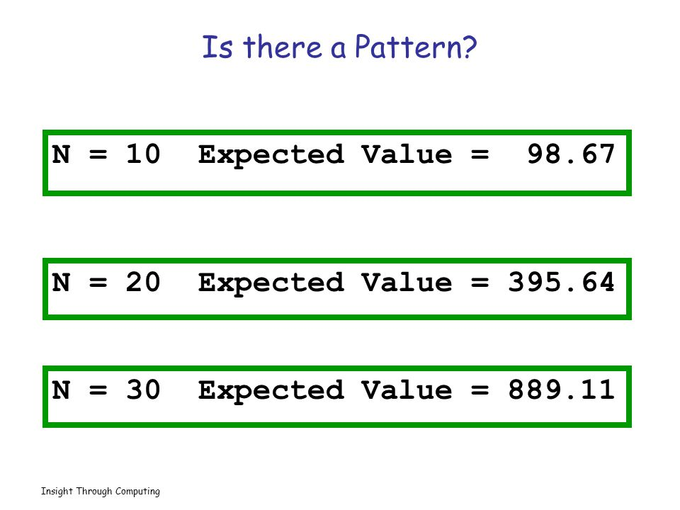 Is there a Pattern N = 10 Expected Value = 98.67