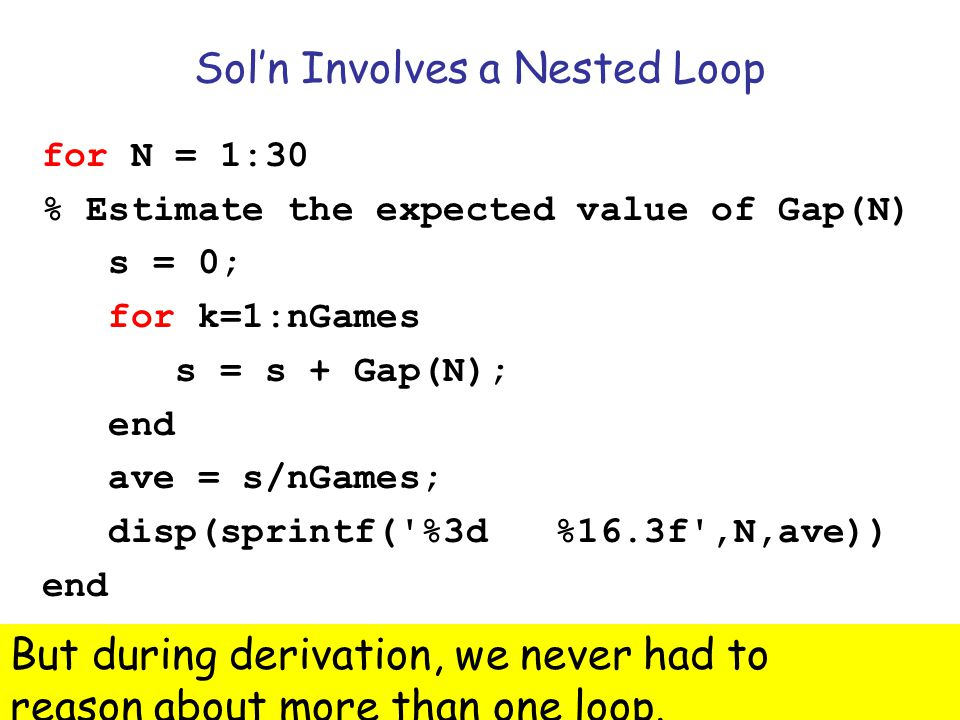 Sol'n Involves a Nested Loop
