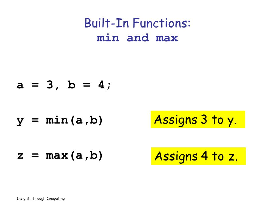 Built-In Functions: min and max
