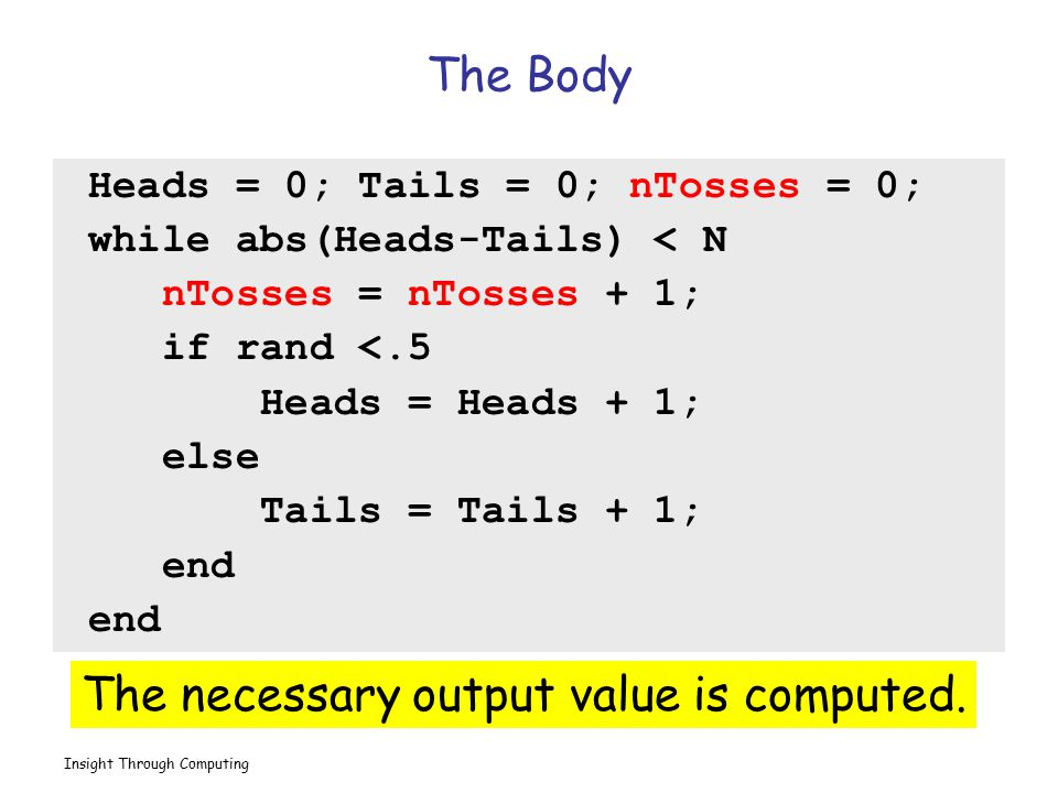 The necessary output value is computed.
