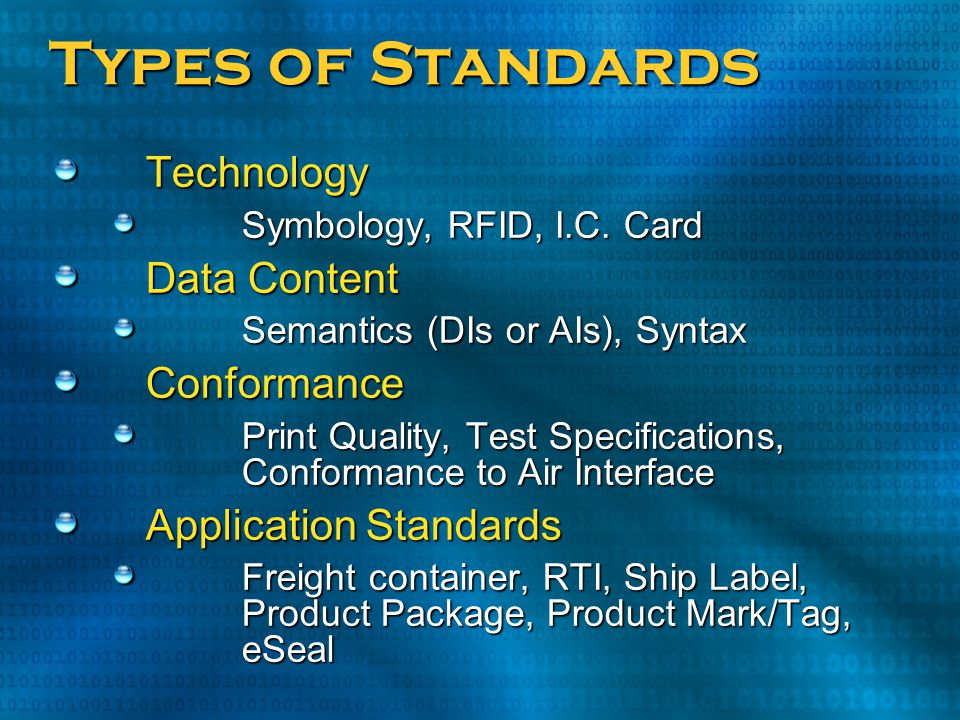 Types of Standards Technology Data Content Conformance
