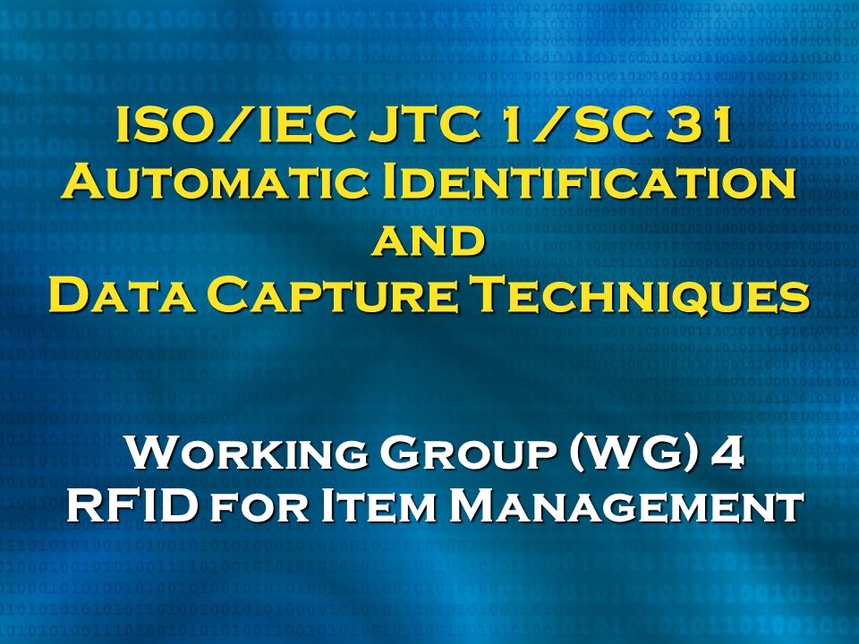 Working Group (WG) 4 RFID for Item Management