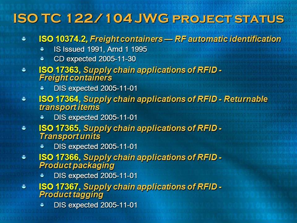 ISO TC 122/104 JWG project status