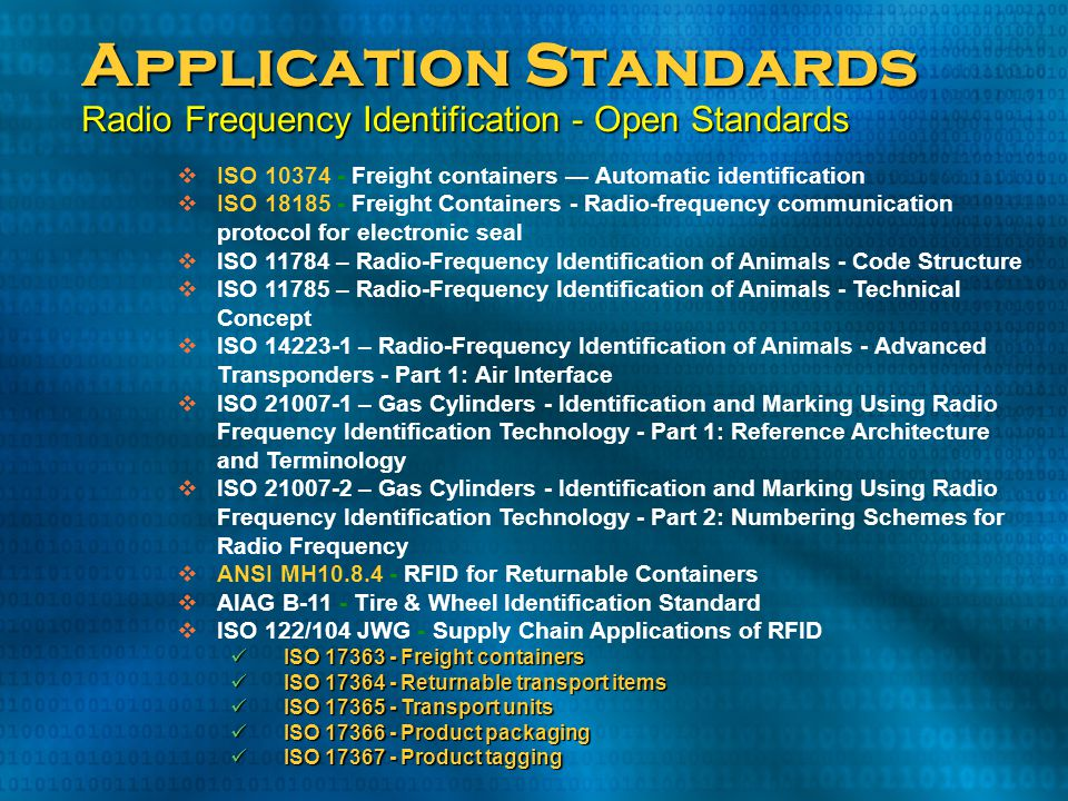 Application Standards Radio Frequency Identification - Open Standards
