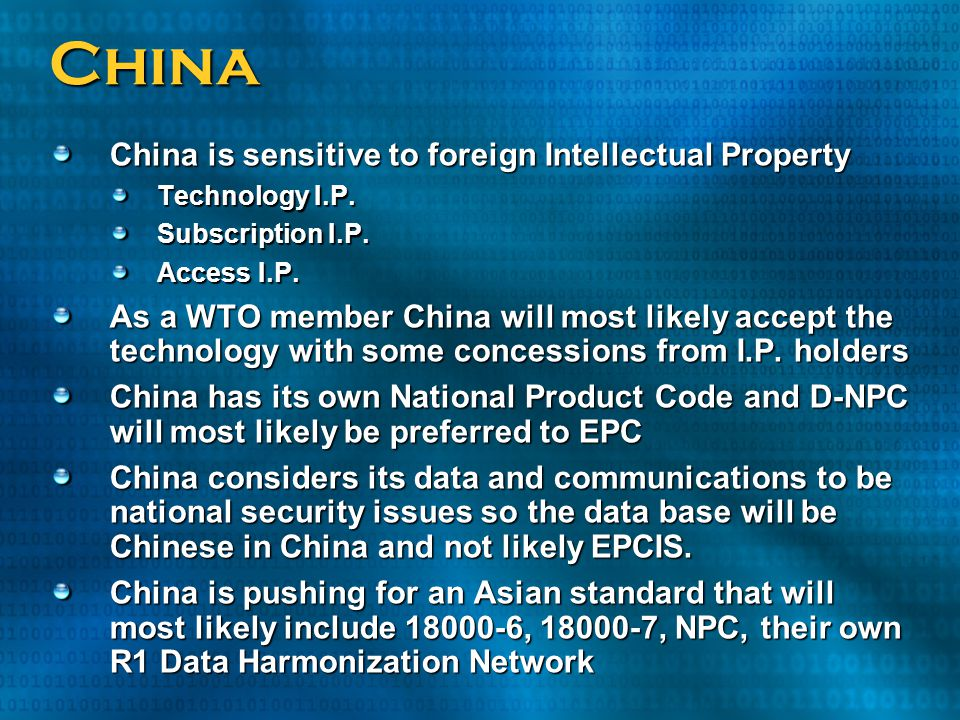 China China is sensitive to foreign Intellectual Property