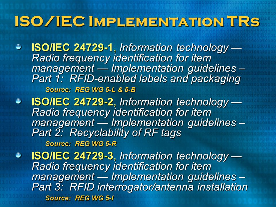ISO/IEC Implementation TRs