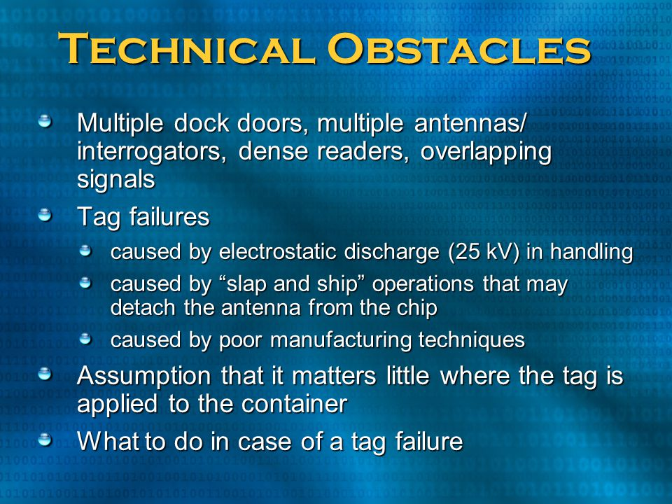 Technical Obstacles Multiple dock doors, multiple antennas/ interrogators, dense readers, overlapping signals.