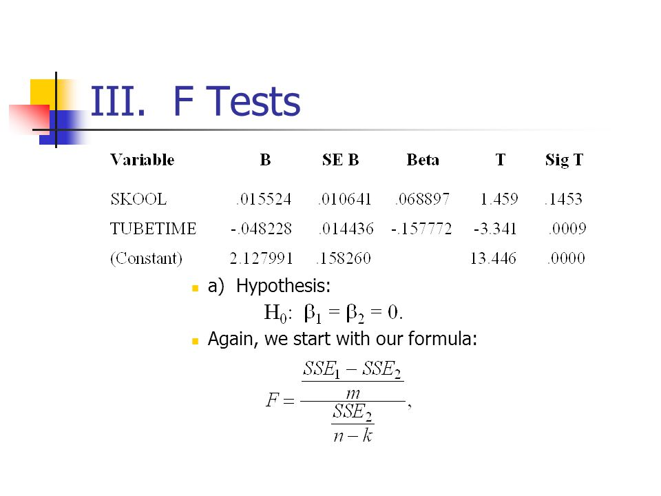 III. F Tests a) Hypothesis: Again, we start with our formula: