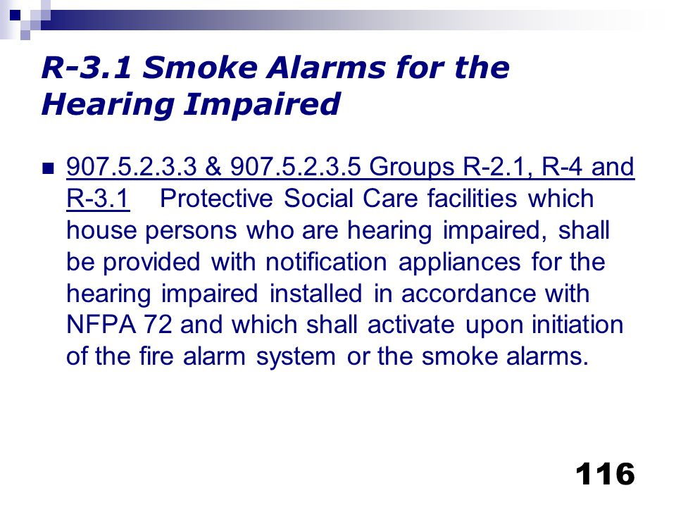 R-3.1 Smoke Alarms for the Hearing Impaired