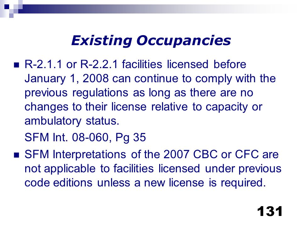 Existing Occupancies