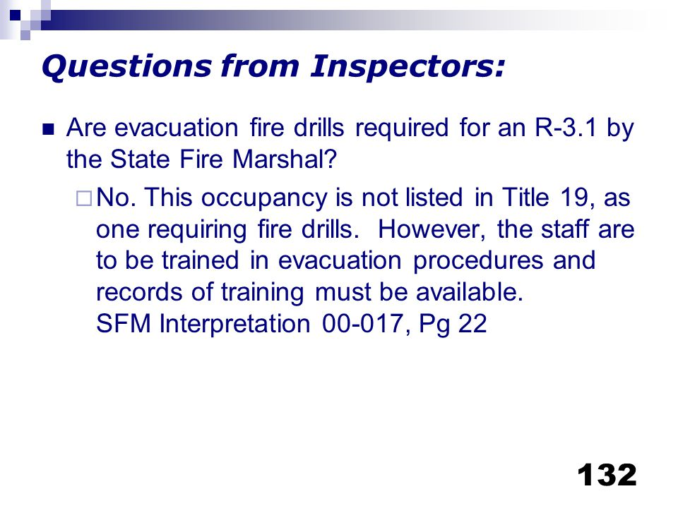 Questions from Inspectors: