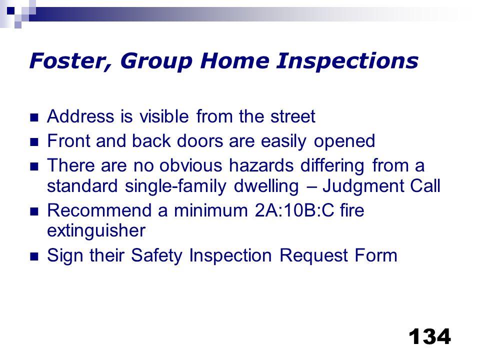 Foster, Group Home Inspections