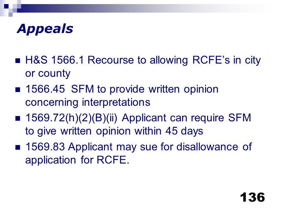 Appeals H&S 1566.1 Recourse to allowing RCFE's in city or county