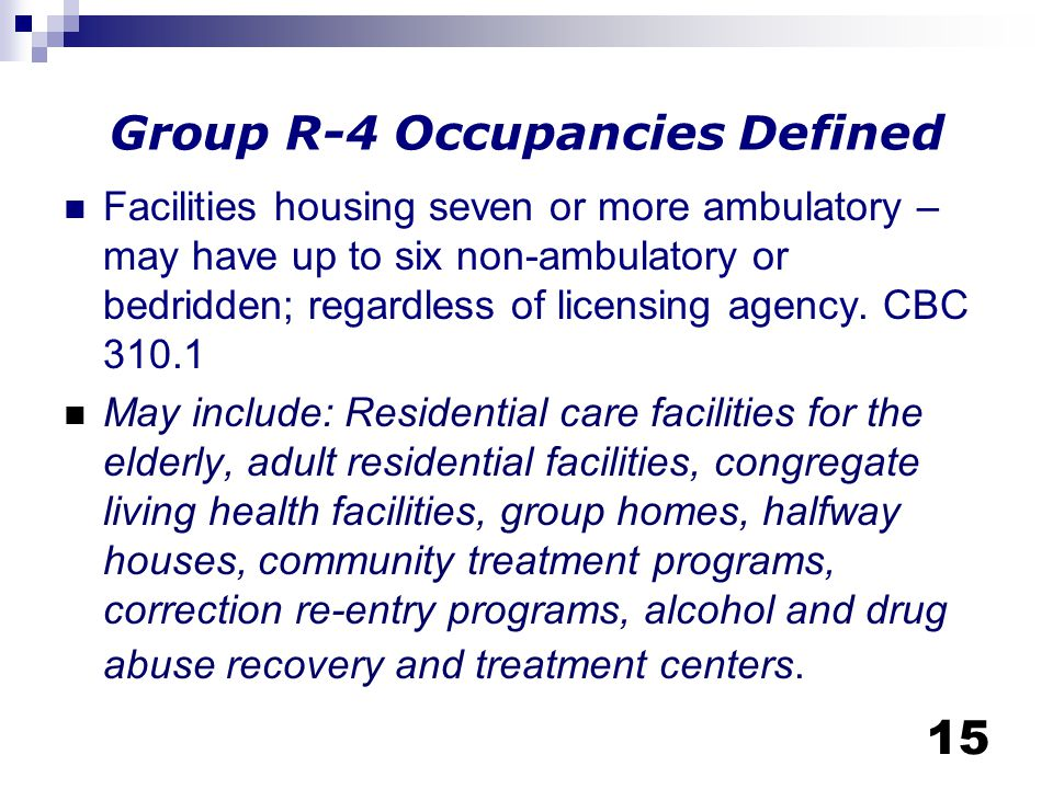 Group R-4 Occupancies Defined