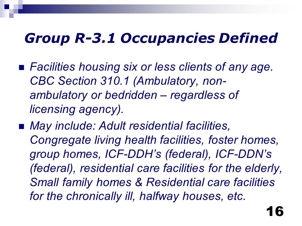 Group R-3.1 Occupancies Defined