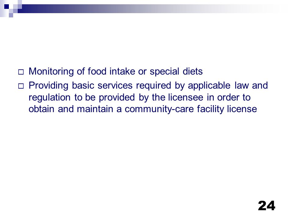 Monitoring of food intake or special diets