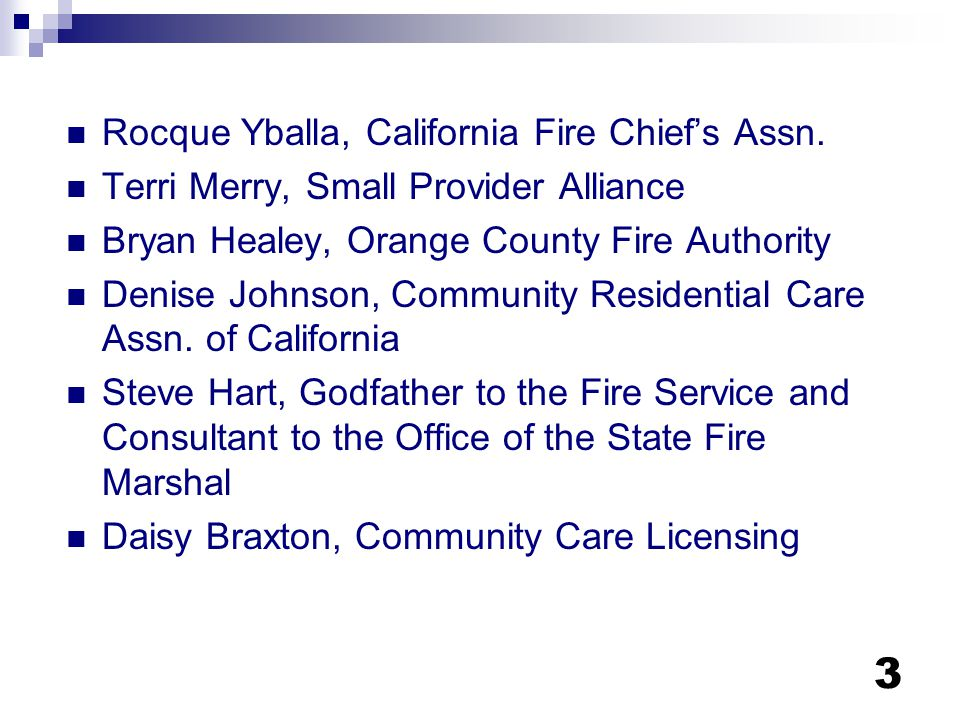 Rocque Yballa, California Fire Chief's Assn.