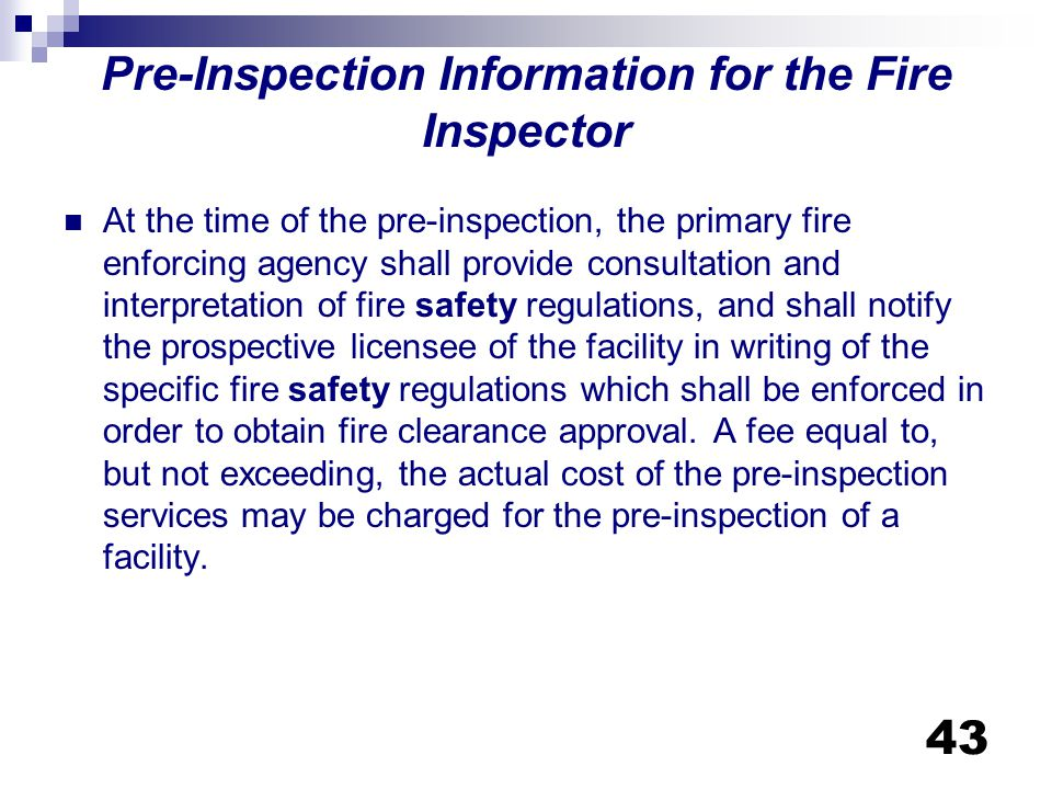 Pre-Inspection Information for the Fire Inspector
