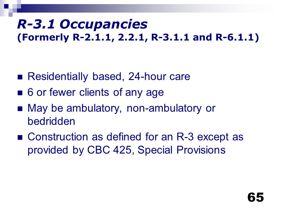 R-3.1 Occupancies (Formerly R-2.1.1, 2.2.1, R-3.1.1 and R-6.1.1)