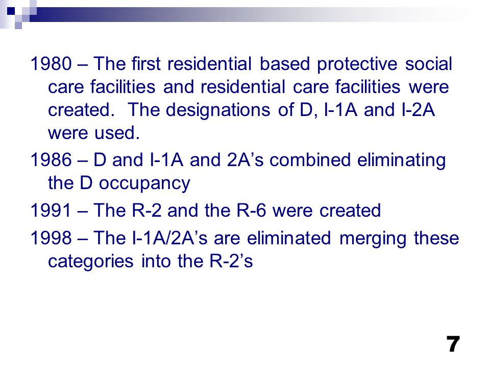 1980 – The first residential based protective social care facilities and residential care facilities were created. The designations of D, I-1A and I-2A were used.