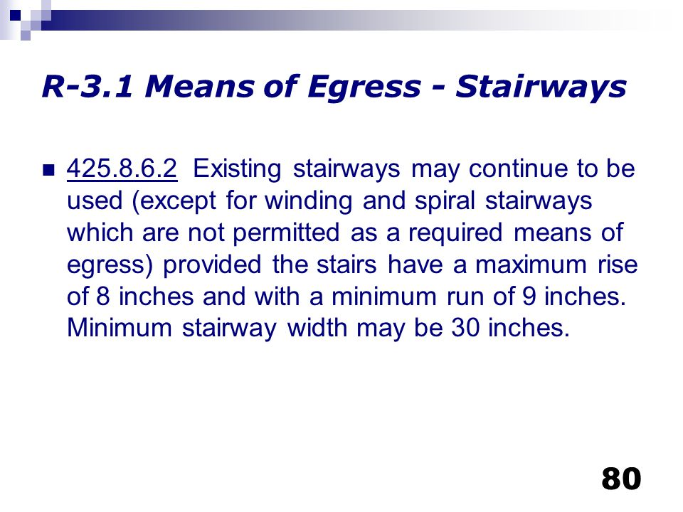 R-3.1 Means of Egress - Stairways