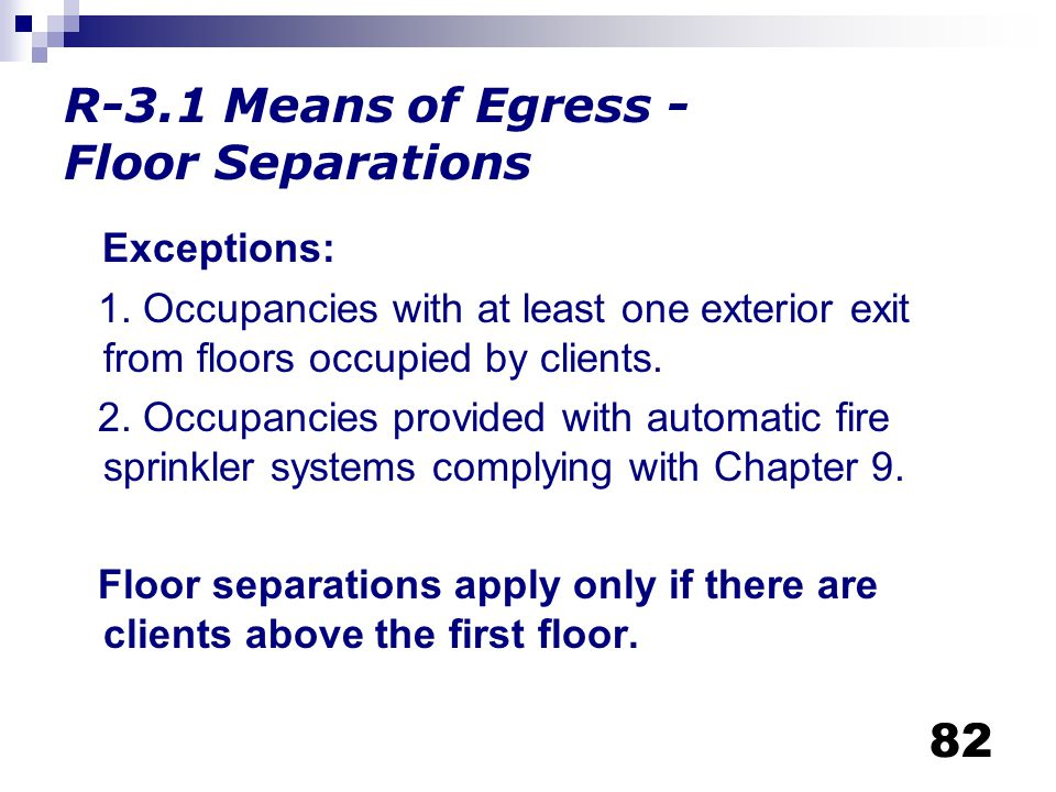R-3.1 Means of Egress - Floor Separations