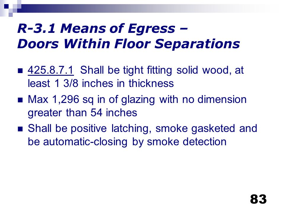 R-3.1 Means of Egress – Doors Within Floor Separations